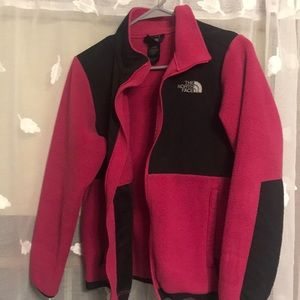 pink and black fleece north face